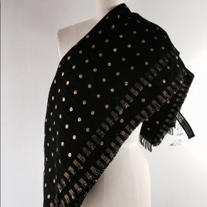 New zara black gold polka dot scarf foulard